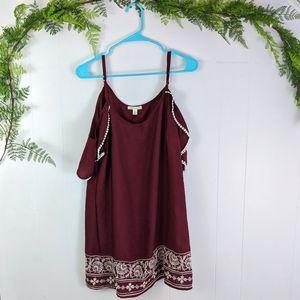 Francesca's Embroidered cold shoulder shift dress